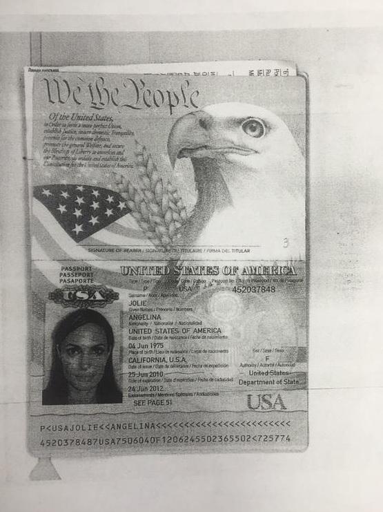 Копия паспорта Анджелины Джоли